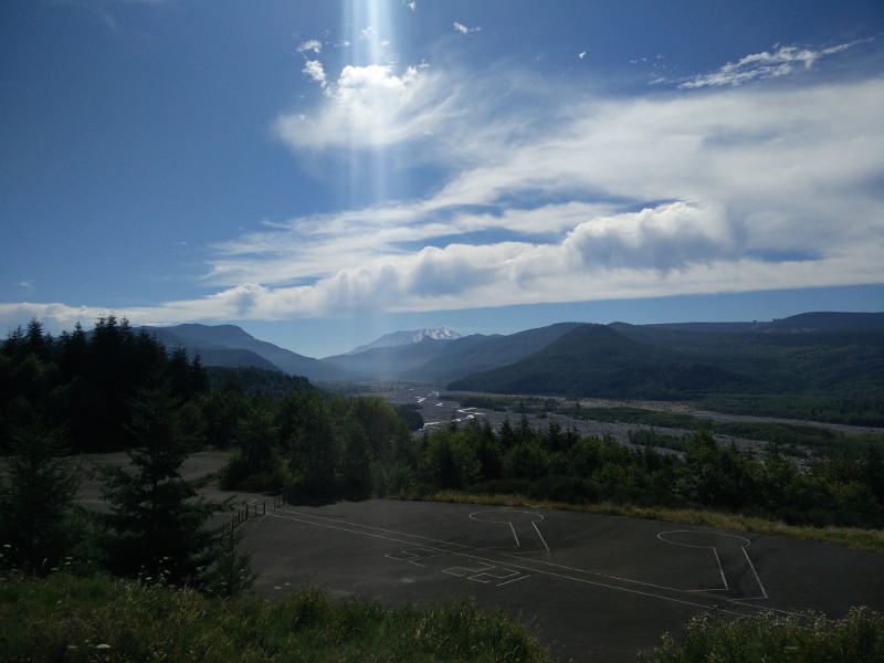 View from Hoffstadt Bluffs Visitor Center at Mount St. Helens